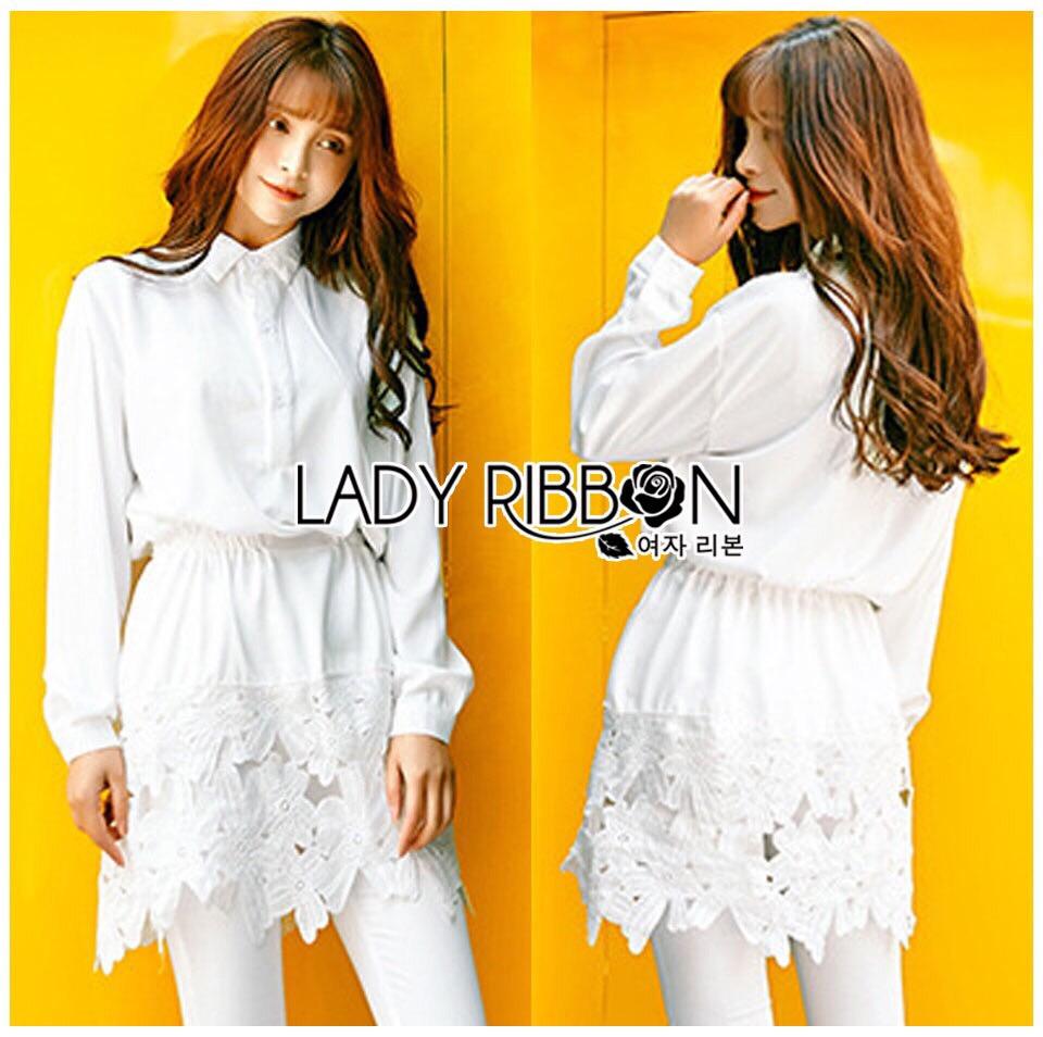Lady Ribbon Dress Korea LR15190516 &#x1F380 Lady Ribbon's Made &#x1F380 Lady Aurelie Minimal Chic Cotton Long Dress korea Shirt with Lace Trim