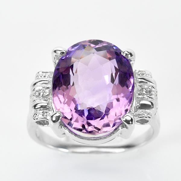 แหวนพลอยแท้ แหวนเงิน 925 พลอยแท้อเมทิส สีม่วงสวยแวววาว ประดับข้างด้วยเพชร CZ คุณภาพสูง