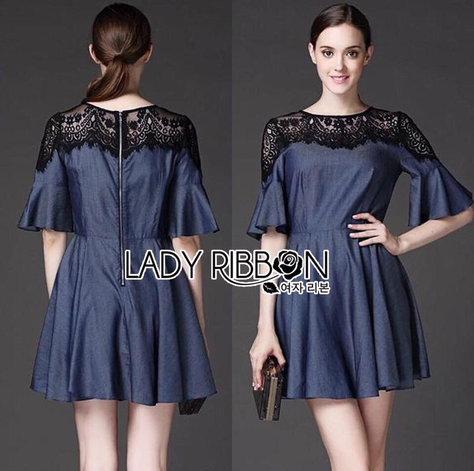 Lady Ribbon Korea Dress LR06160616 &#x1F380 Lady Ribbon's Made &#x1F380 Lady Stella Smart Casual Black Lace and Denim Dress