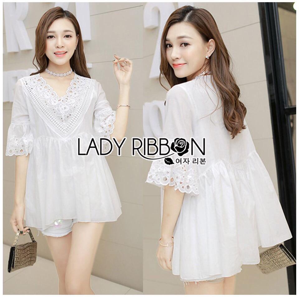 Lady Ribbon Dress LR10300516 &#x1F380 Lady Ribbon's Made &#x1F380 Lady Lara Vintage Feminine Laser-Cut Embroidered Cotton Blouse