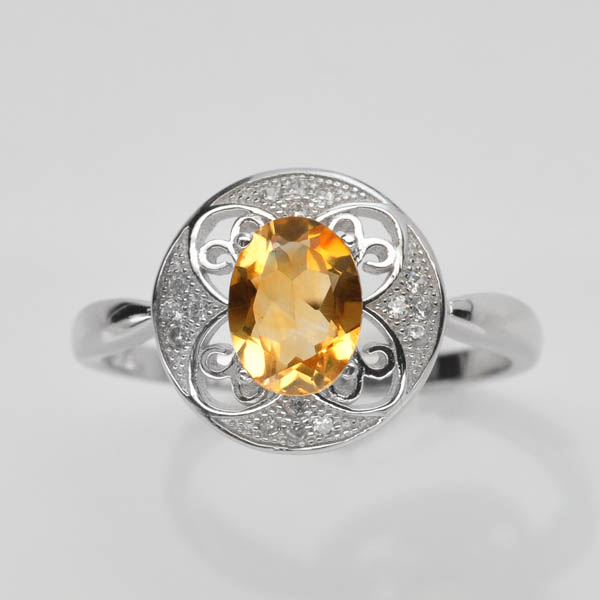 แหวนพลอยแท้แหวนเงินแท้ 925 ฝังพลอยซิทริน ประดับเพชร CZ เกรดพรีเมี่ยม