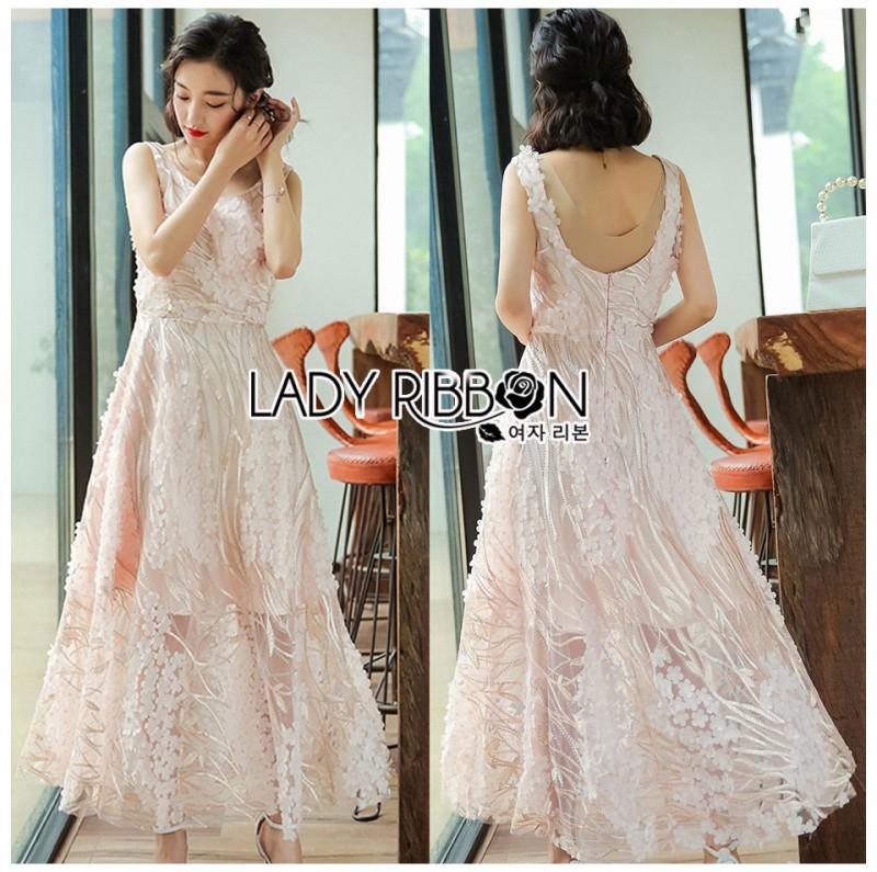 เสื้อผ้าแฟชั่นเกาหลี Lady Ribbon's Made Lady Olivia Elegant Chic Flower Embroidered Lace Cocktail Dress