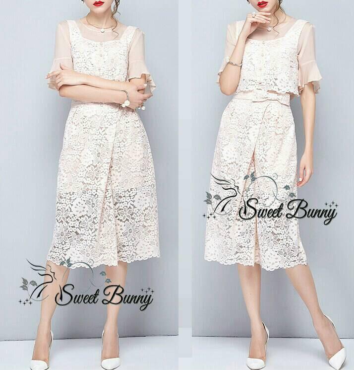 Lady Ribbon Korea Closet SW 15060616 Sweet Bunny Present... Mesh Blue Lace Dress
