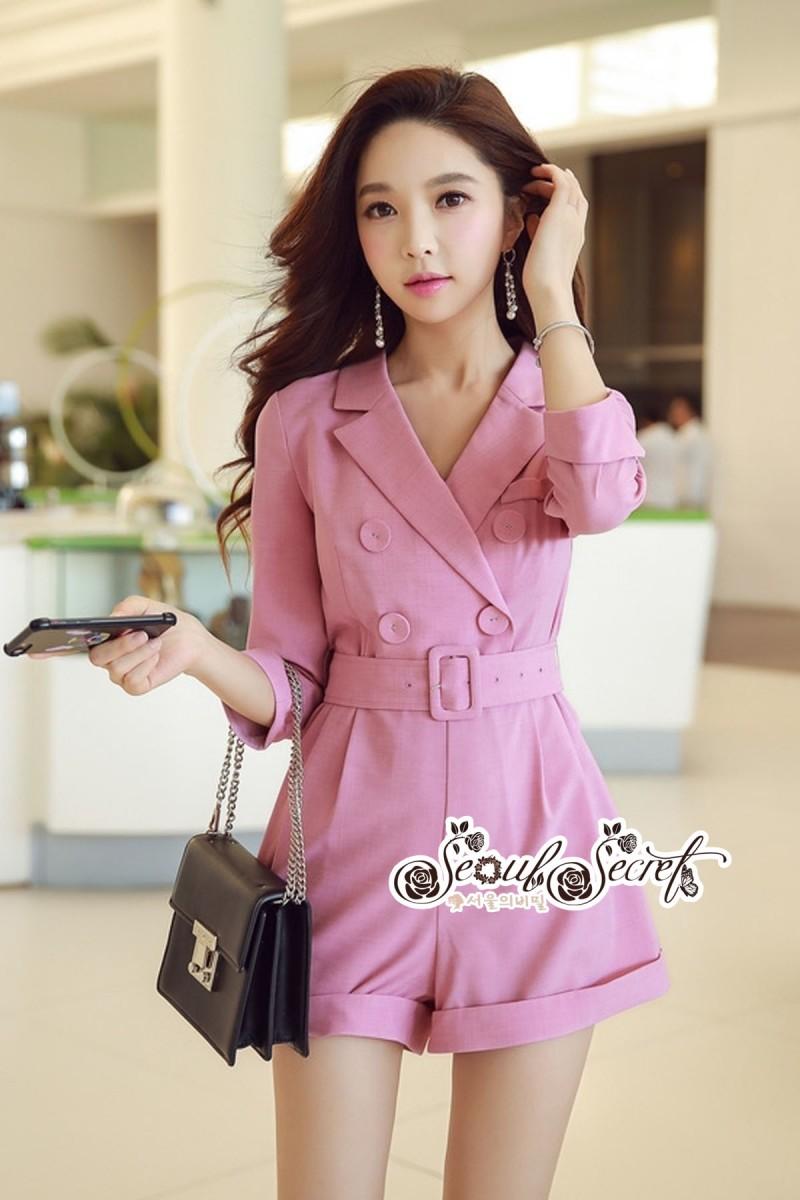 เสื้อผ้าแฟชั่นเกาหลี Lady Ribbon Thailand Seoul Secret Say'...Short Leg Suit Classic Luxury Pink Tones