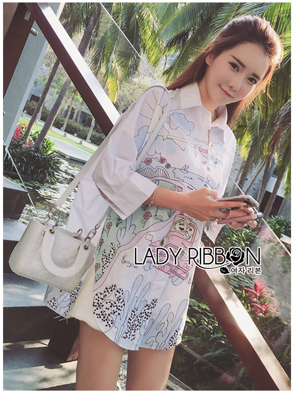 Lady Ribbon Korea Dress เชิ้ต LR09130616 &#x1F380 Lady Ribbon's Made &#x1F380 Lady Nicole Artful Dreamy Embroidered Cotton Shirt in White Dress เชิ้ตผ้าคอตตอน