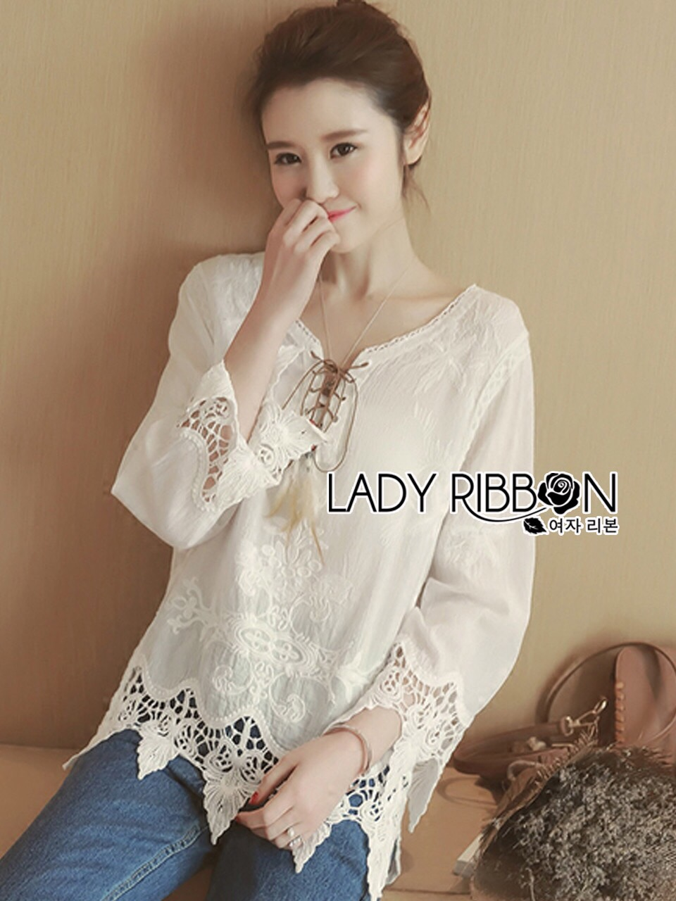 Lady Ribbon Korea Dress LR01230616 &#x1F380 Lady Ribbon's Made &#x1F380 Lady Sara Bohemien Chic Cotton Embroidered with Lace Top เ