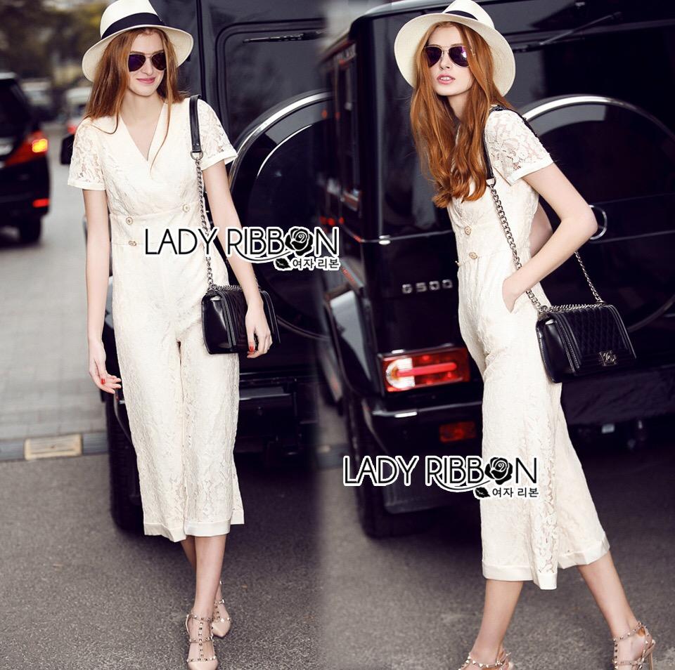 Lady Ribbon Dress LR07120516 &#x1F380 Lady Ribbon's Made &#x1F380 Lady Kiera Smart Chic Lace Dress Denim Jumpsuit in White