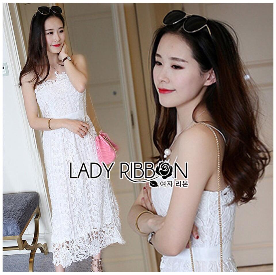 Lady Ribbon Dress LR08300516 &#x1F380 Lady Ribbon's Made &#x1F380 Lady Lauren Sweet Feminine Lace Maxi Slip Dress in White เดรสยาว