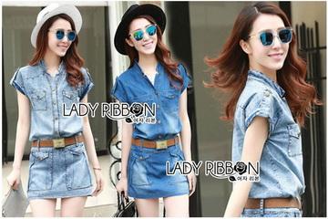 เสื้อผ้าเกาหลี LR11110716 &#x1F380 Lady Ribbon's Made &#x1F380 Lady Cindy Little Western Cowboy Denim Shirt and Shorts Set with Belt