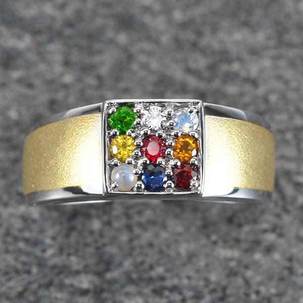 แหวนนพเก้า ทองคำขาว เพชรแท้ พลอยแท้ ชุบ2กษัตริย์