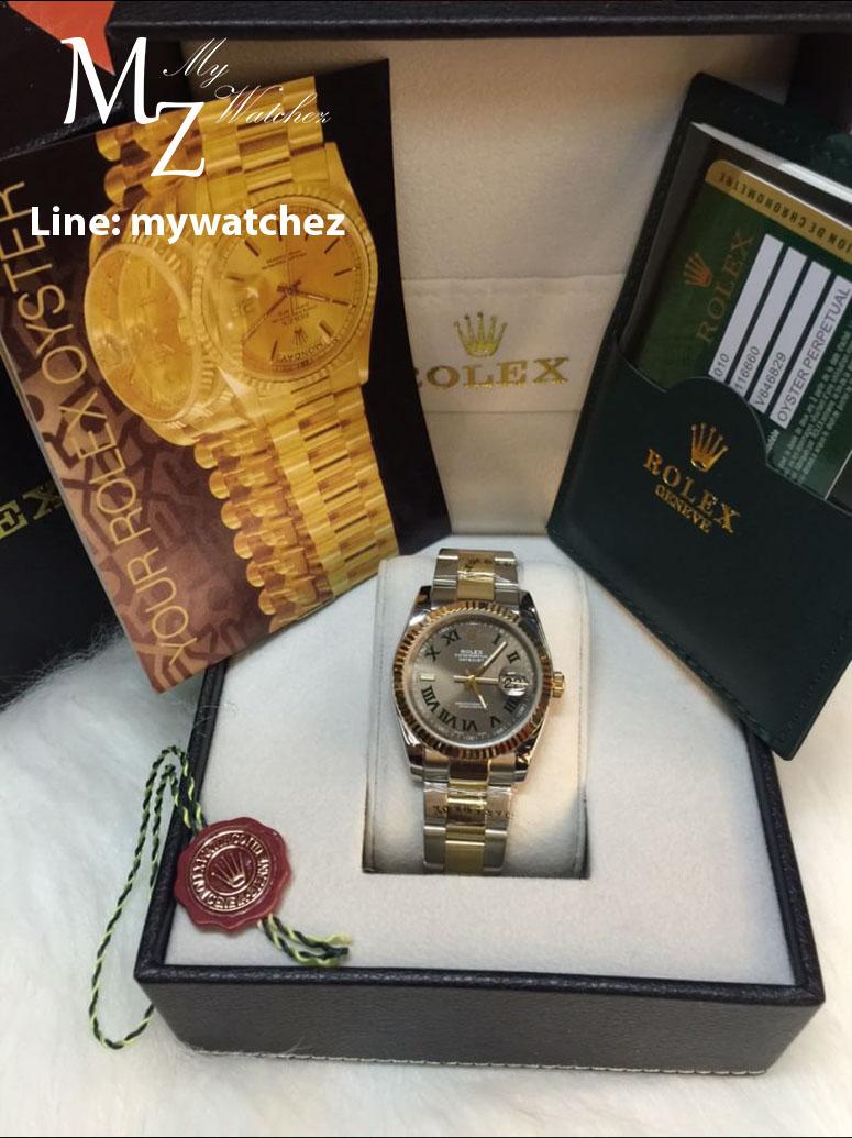 Rolex Datejust II Grey Roman Dial Yellow Gold Bezel Two Tone Oyster Bracelet Mens Watch 116333GYRO