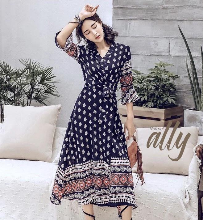เสื้อผ้าแฟชั่นเกาหลี Lady Ribbon Thailand Normal Ally Present Bohemian print style chic summer dress