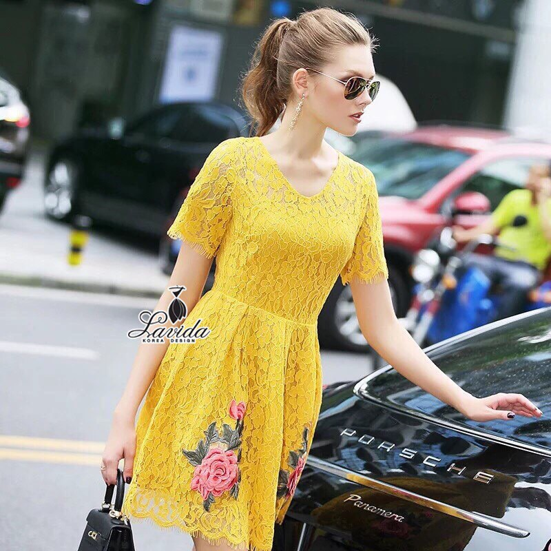 Lady Ribbon Korea Closet Dress Design By Lavida elegant premium lace twin rose embroidery beautiful dress