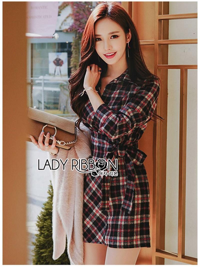 เสื้อผ้าแฟชั่นเกาหลี Lady Ribbon Thailand Lady Ribbon's Made Lady Rachel Ribbon Twist Tartan Wool Shirt Dress