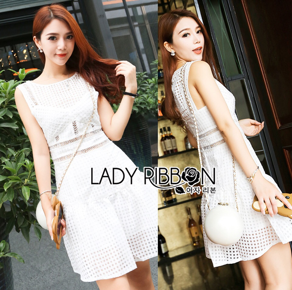 Lady Ribbon's Made &#x1F380 Lady Gena Sweet Sexy Checked Cotton Embroidered Self Portrait Dress Korea