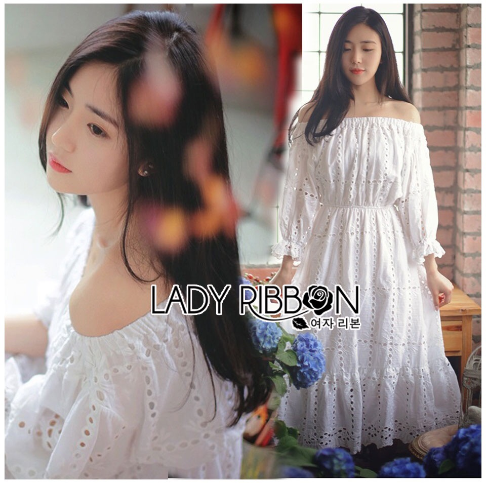 Lady Ribbon Korea Dress Lady Ribbon's Made Lady Paula Pure Princess Laser-Cut Off-Shoulder Cotton Maxi Dress