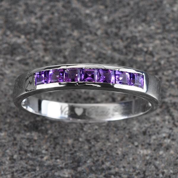 แหวนสลักชื่อ ฝังพลอยอเมทิสแท้ ตัวเรือนทองคำขาวแท้ สามารถเลือกพลอยได้