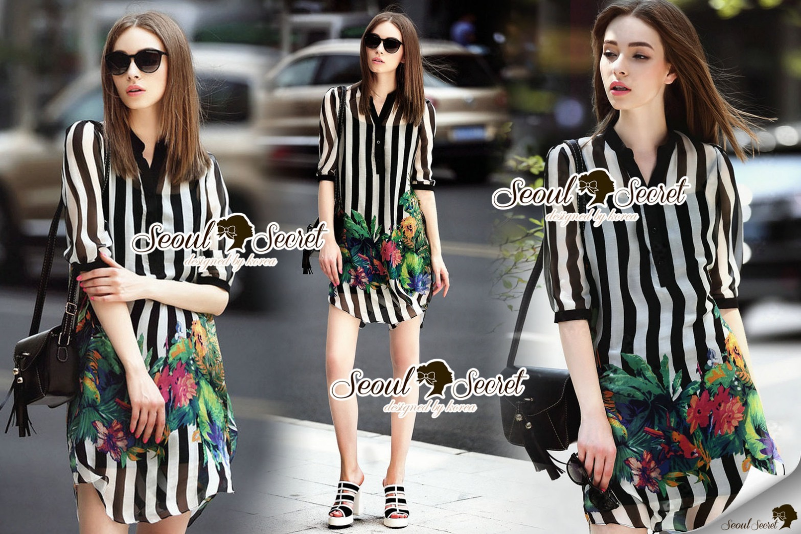 Lady Ribbon Closet Design Seoul Secret Say's... Chic Stripy Flora Print Shirt Dress