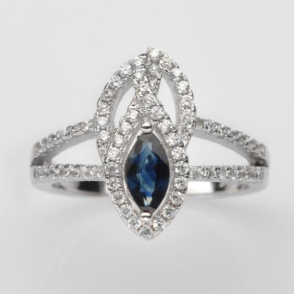 แหวนพลอยแท้ แหวนเงิน925 พลอย ไพลิน ประดับเพชร CZ ชุบทองคำขาว