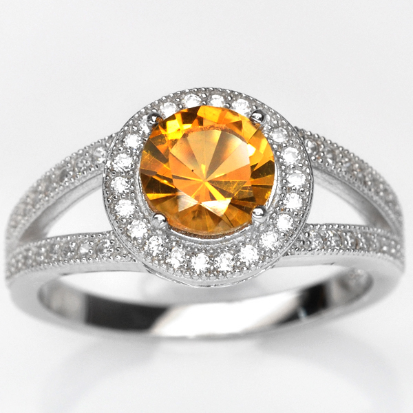 แหวนพลอยแท้ แหวนเงิน925 ชุบทองคำขาว ฝังพลอยซิทรินล้อมด้วยเพชร CZ