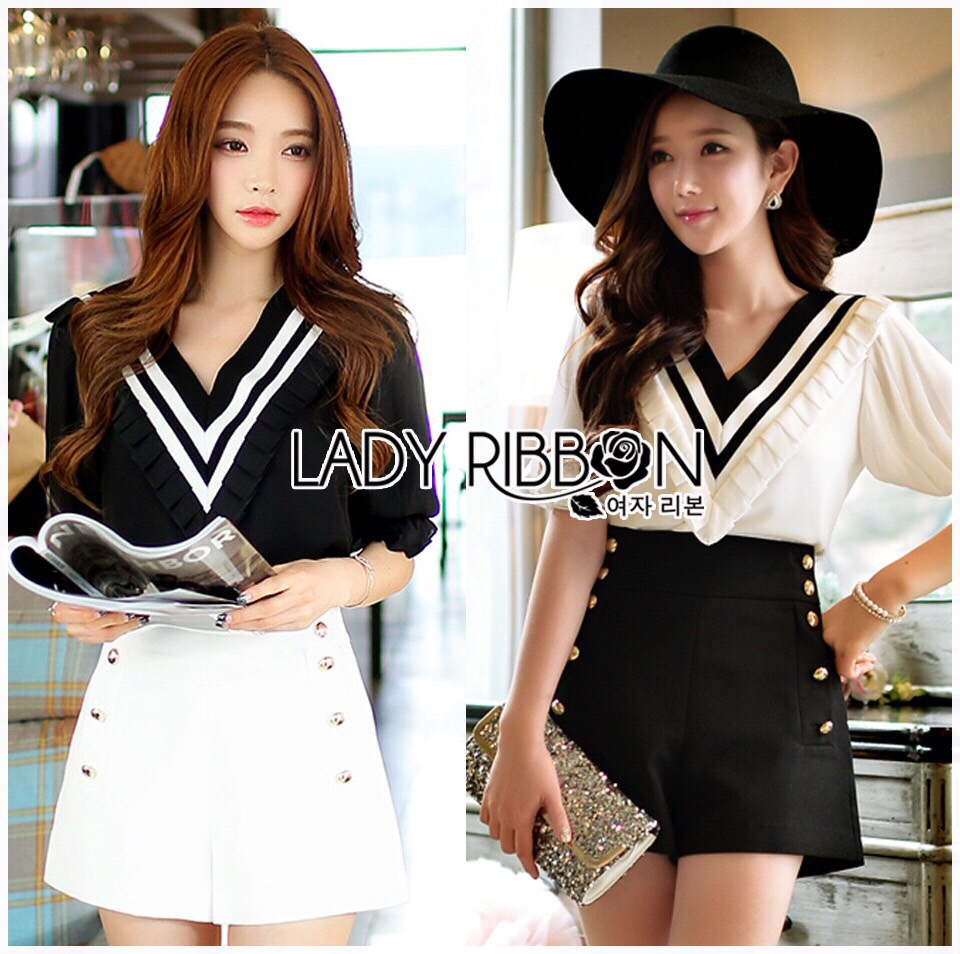 Lady Ribbon Dress LR02300516 &#x1F380 Lady Ribbon's Made &#x1F380 Lady Elena Feminine Minimal Ruffle Top and Buttoned Shorts Set