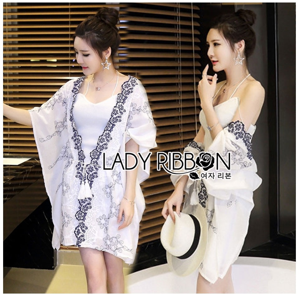 Lady Ribbon Korea Dress &#x1F380 Lady Ribbon's Made &#x1F380 Lady Elena Summery Special Floral Printed Kaftan Dress เดรสทรงคาฟ