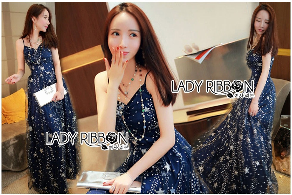 Lady Ribbon Dress LR02120516 &#x1F380 Lady Ribbon's Made &#x1F380 Lady Leslie Super Stars Sequin Embroidered Tulle Maxi Dress