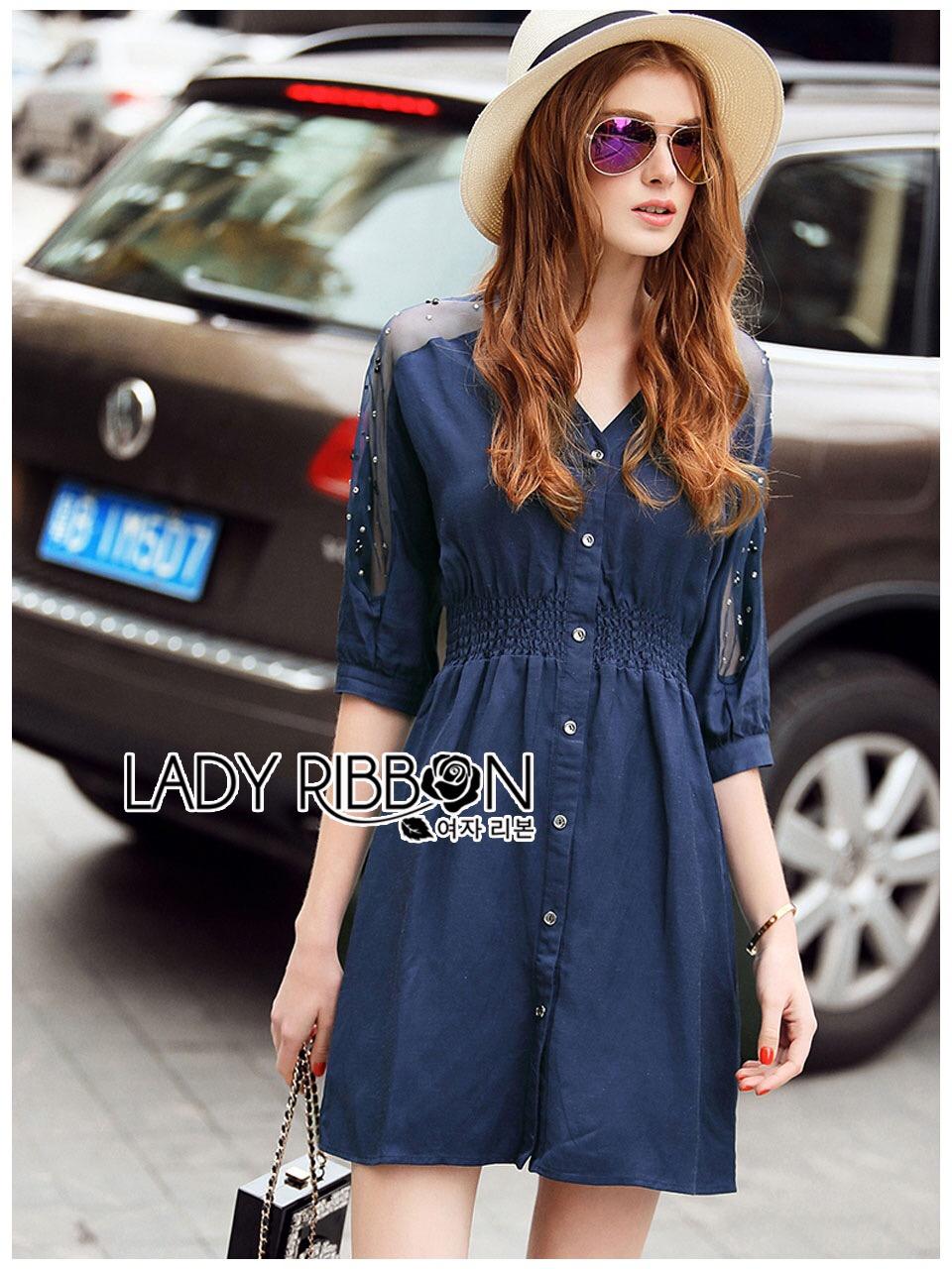 Lady Ribbon Korea Dress LR10060616 &#x1F380 Lady Ribbon's Made &#x1F380 Lady Natalie Minimal Chic Crystal Embroidered Organza and Denim Cotton Shirt Dress