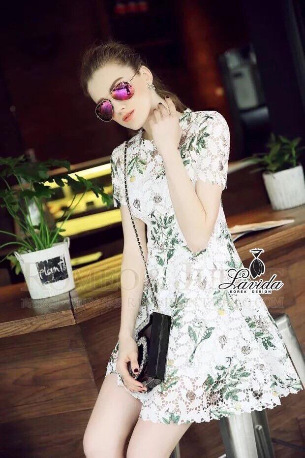 Lady Ribbon Korea Closet Dress Korea Design By Lavida noble green leaf printing luxury lace dress code