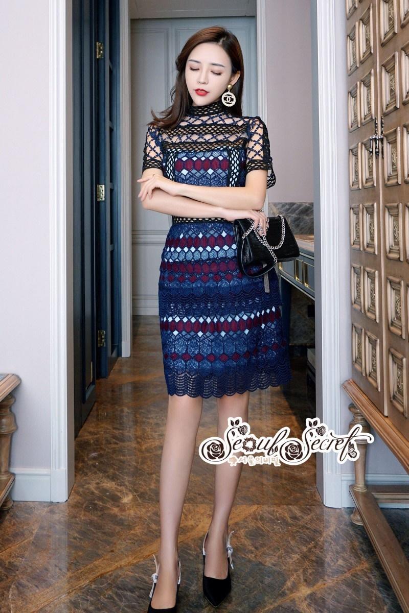 เสื้อผ้าแฟชั่นเกาหลี Lady Ribbon Thailand LUXURY by Seoul Secret ...Lady Elegant Organza Lace Dress Korea Style