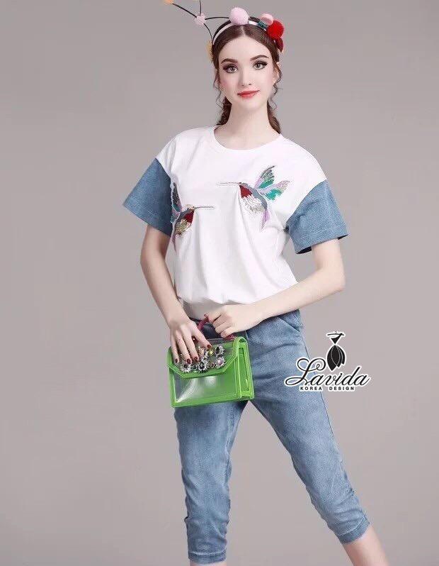 Lady Ribbon Korea Closet LV03090616 &#x1F36DKorea Design By Lavida pearl decoration neck short sleeve top denim pants chic set code