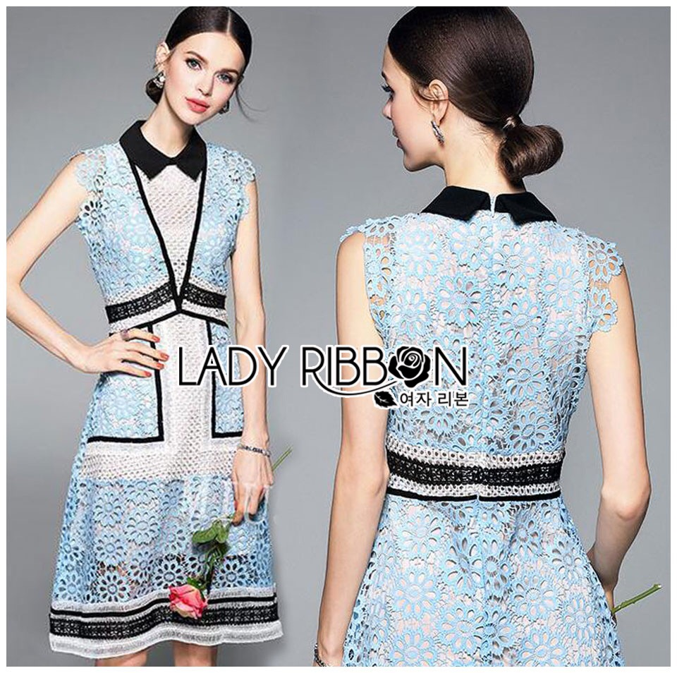 Lady Ribbon Korea Mini Dress LR01060616 &#x1F380 Lady Ribbon's Made &#x1F380 Self-Portrait Floral Panel Midi Dress เดรลผ้าลูกไ