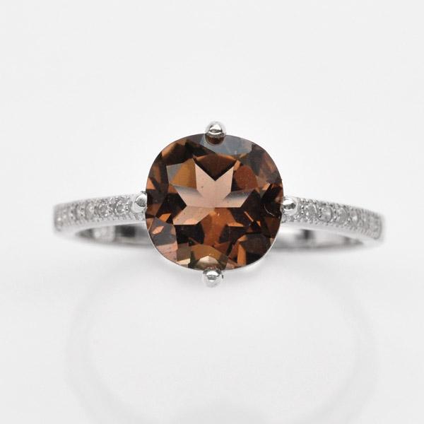 แหวนพลอยแท้ แหวนเงิน925 ชุบทองคำขาวฝังพลอยควอตซ์แท้ ประดับเพชร CZ