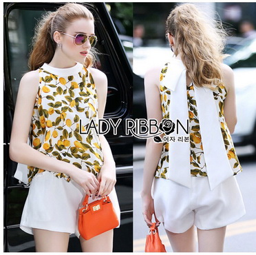 Lady Ribbon Korea Korea Design LR06270616 &#x1F380 Lady Ribbon's Made &#x1F380 Lady Michelle peach Printed Sleeveless Design Top and White Shorts Set