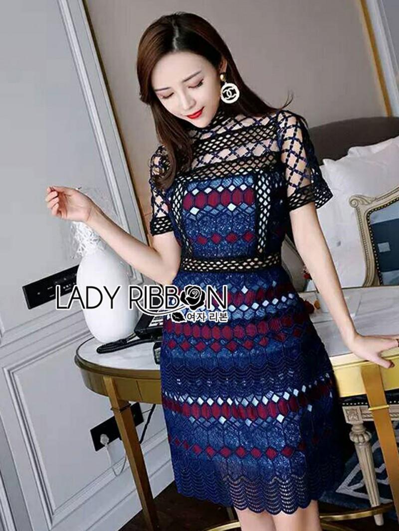 เสื้อผ้าแฟชั่นเกาหลี Lady Ribbon's Made Lady Poppy Vivid Blue and Burgundy Lace Dress