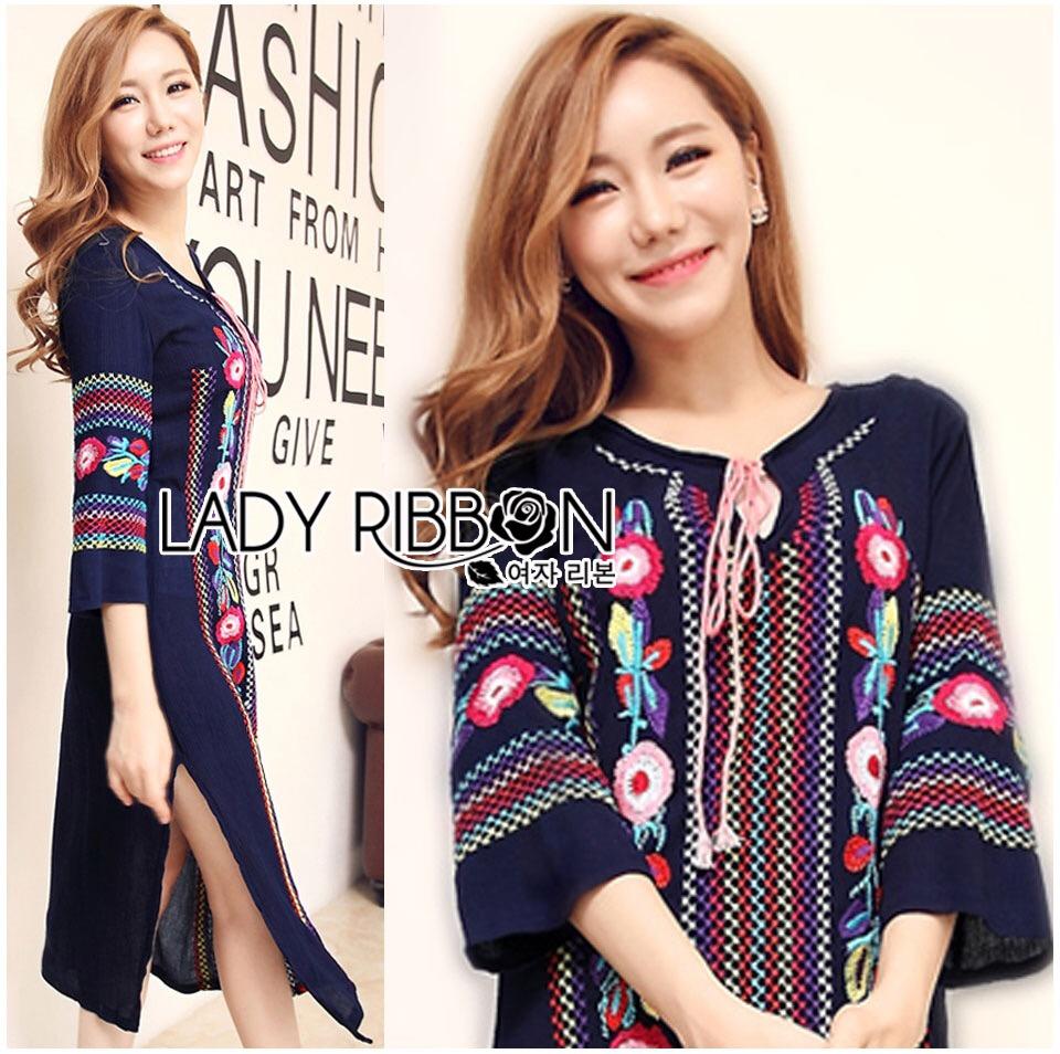 &#x1F380 Lady Ribbon's Made &#x1F380 Lady Lea Boho Colourful Flower Embroidered Midi Dress