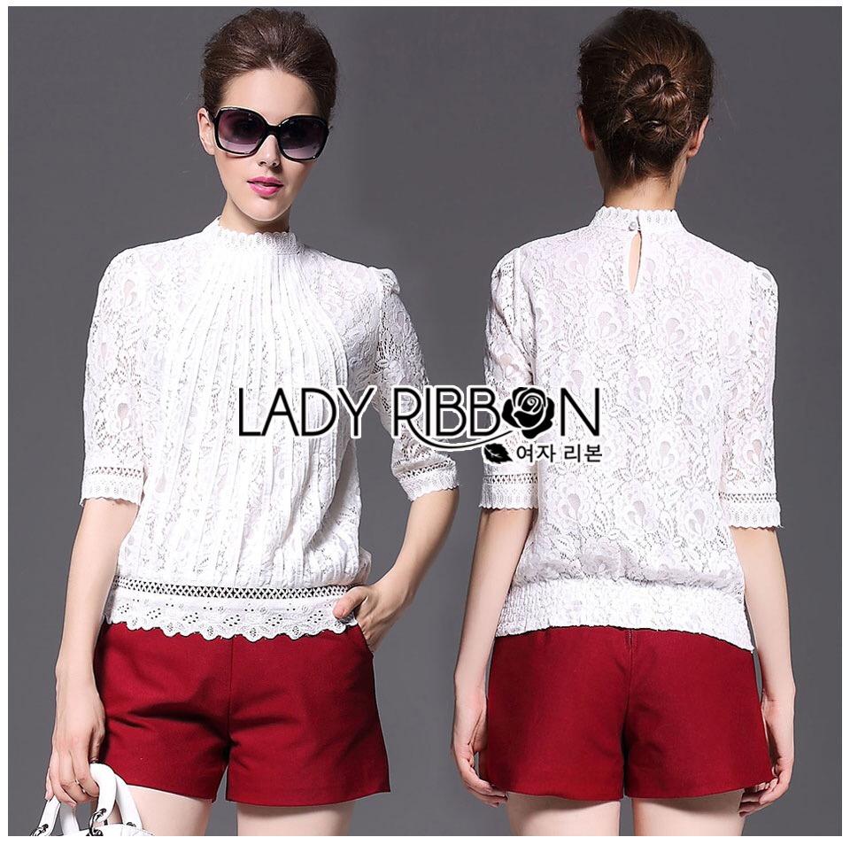 Lady Ribbon Korea LB08160516 &#x1F380 Lady Ribbon's Made &#x1F380 Lady Alessandra White Lace Blouse เสื้อลูกไม้สีขาว