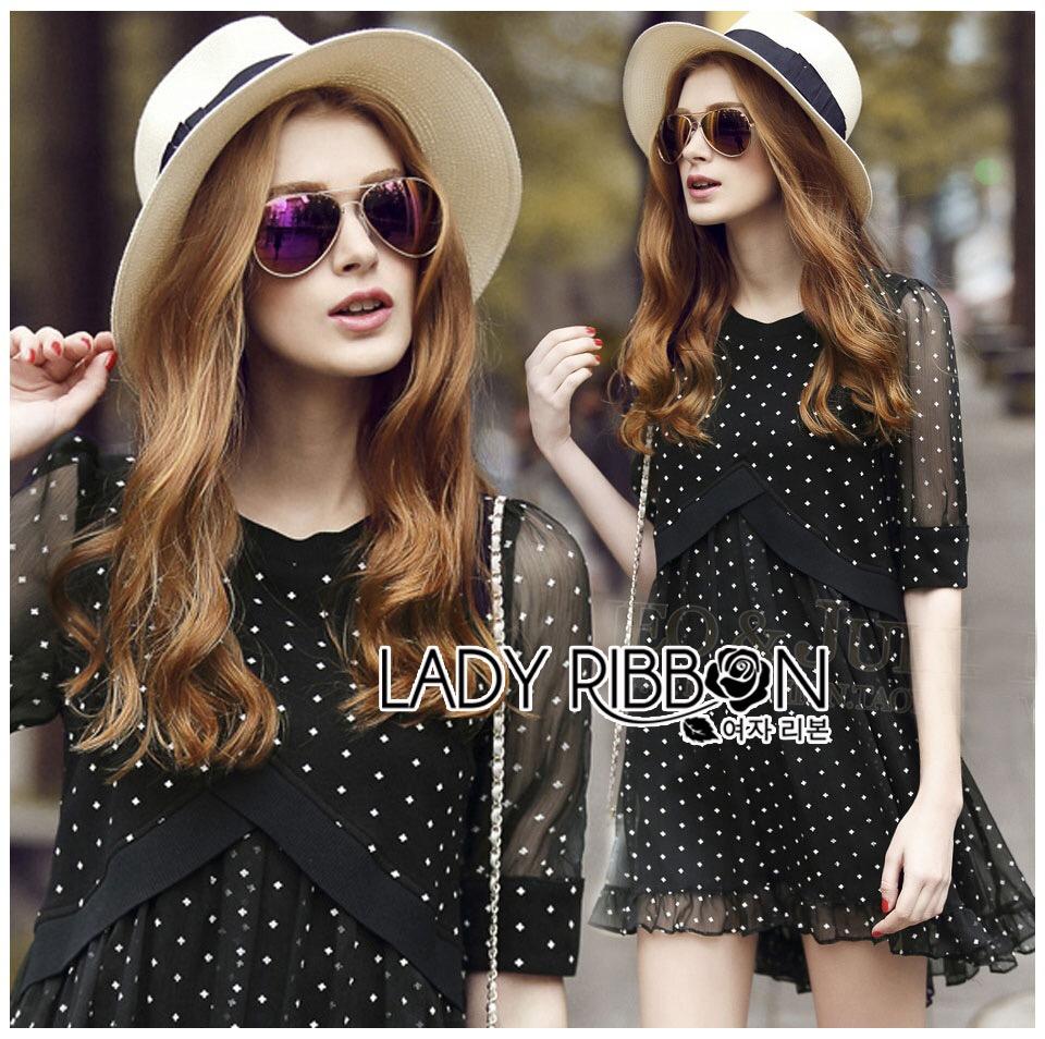 Lady Ribbon's Made &#x1F380 Lady Elena Feminine Cross Dot Printed Chiffon and Knitted Dress