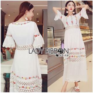 Lady Ribbon Korea Dressเสื้อผ้า LR22010816 &#x1F380 Lady Ribbon's Made &#x1F380 Lady Abigail Hippie Holiday Floral Embroidered Lace and Cotton Maxi Dress เดรสยาวผ้า