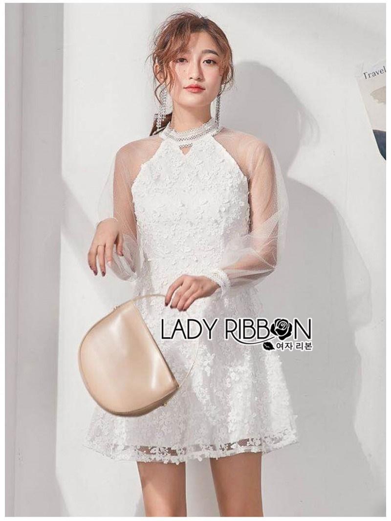 เสื้อผ้าแฟชั่นเกาหลี Lady Ribbon Thailand Lady Ribbon's Made Lady Natalia Feminine Tulle and Flower Lace Cocktail Dress