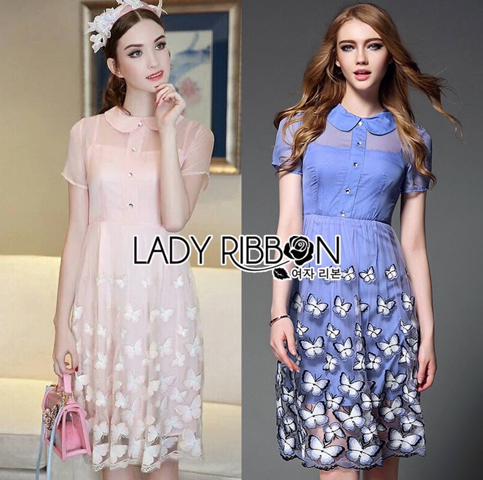 Lady Ribbon Korea Dress LR02160616 &#x1F380 Lady Ribbon's Made &#x1F380 Lady Amanda Sweet Feminine Butterfly Embroidered Polyester Dress