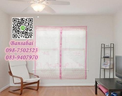 ม่านหน้าต่างกันยุง ก110xส150 ซม.แบบผ้าทอลาย คละสี