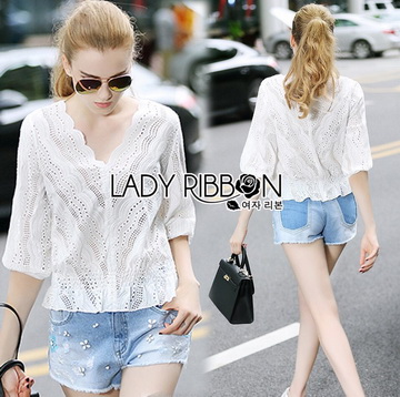 Lady Ribbon Korea เสื้อผ้าเกาหลี ของแท้พร้อมส่ง Lady Ribbon LR09250716 &#x1F380 Lady Ribbon's Made &#x1F380 Lady Emily Sweet Scallop Laser-Cut and Embroidered Cotton