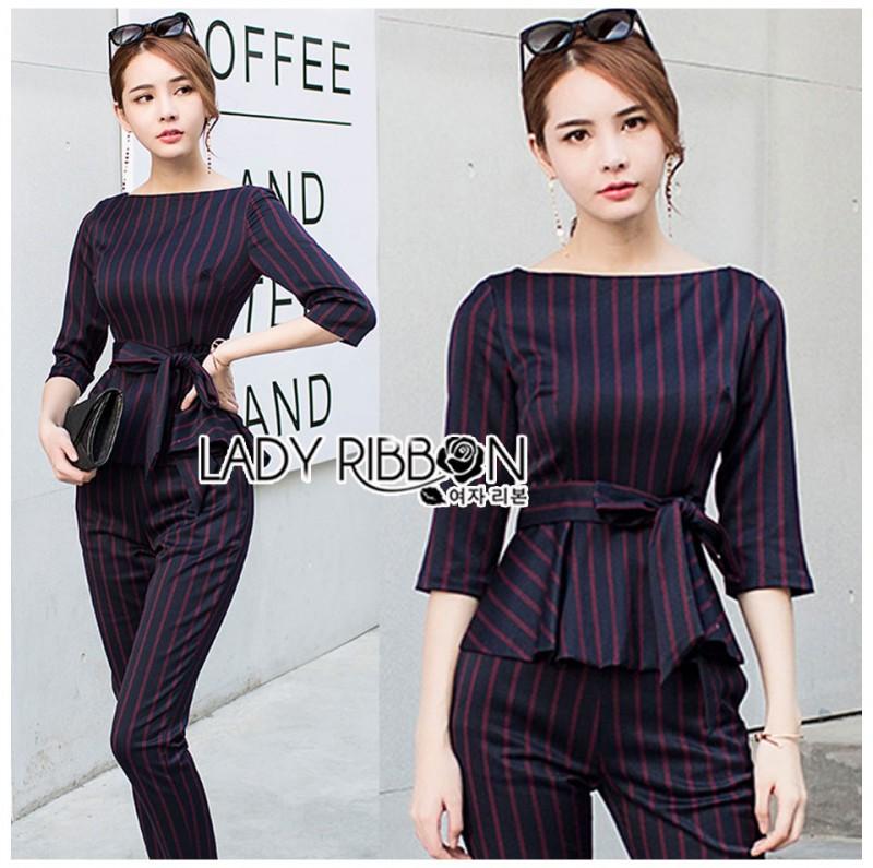 เสื้อผ้าแฟชั่นเกาหลี Lady Ribbon's Made Lady Anne Smart Casual Striped Crepe Ensemble Set