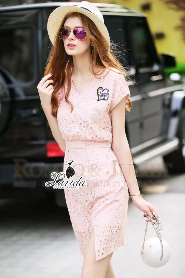 Korea Design By brand cliona Lavida luxury heart embroidered pastel pink lace dress code1655