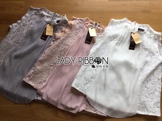 Lady Ribbon Korea Korea shop design LR12010816 &#x1F380 Lady Ribbon's Made &#x1F380Design Lady Alexi Classy Vintage Lace and Pleated Chiffon Top