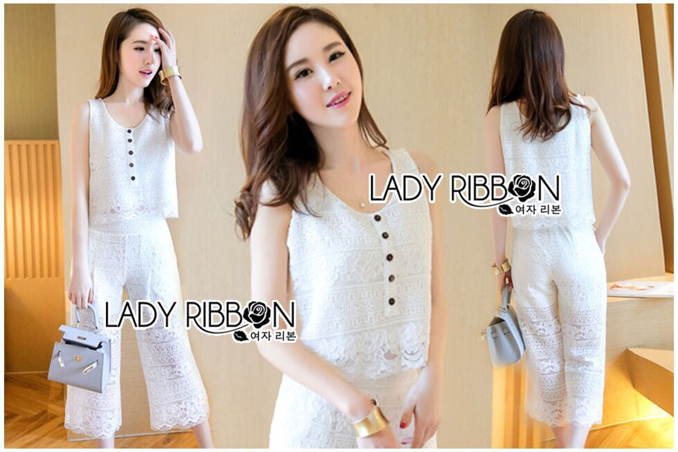 Lady Ribbon Korea LR18230516 &#x1F380 Lady Ribbon's Made &#x1F380 Lady Cara Holiday Casual White Lace Cropped Top and Culottes Set
