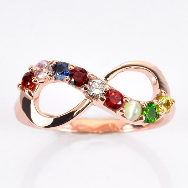 แหวนนพเก้า Infinity แหวนพลอยแท้ เพชรแท้ ตัวเรือนพิ๊งค์โกลด์