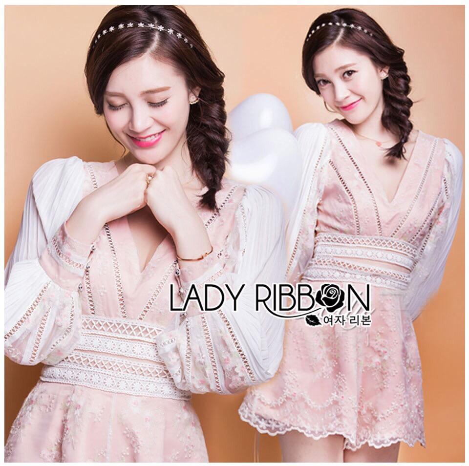 Lady Ribbon Korea Dreaa ลูกไม้ LR04130616 &#x1F380 Lady Ribbon's Made &#x1F380 Thea by Taylor Feminine Elegant Mini Flower Brand Embroidered Mixed Fabrics