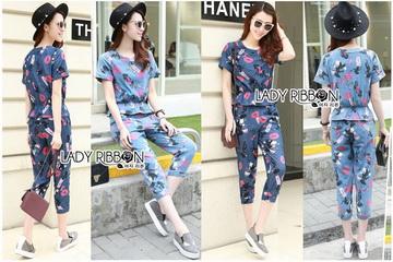 Lady Ribbon เสื้อผ้าเกาหลี LR16110716 &#x1F380 Lady Ribbon's Made &#x1F380 Lady Taylor Street Chic Fashionable Printed Soft Denim Set เซ็ต